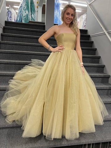 Shiny Strapless Champagne Tulle Long Prom Dresses, Champagne Formal Evening Dresses, Ball Gown