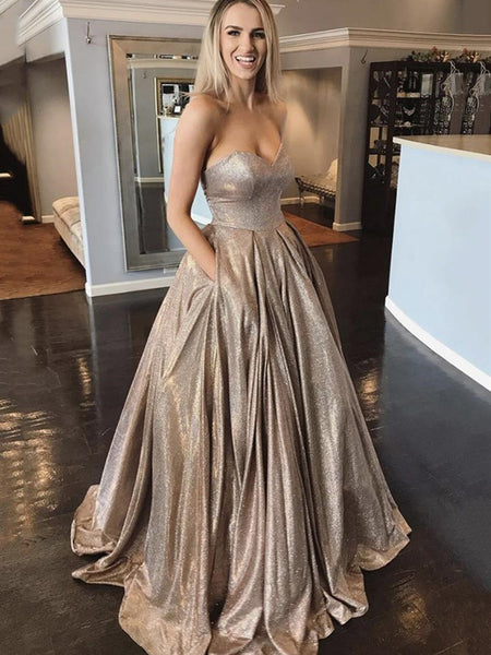 Shiny Strapless Sweetheart Neck Long Champagne Prom Dresses, Champagne Formal Dresses, Sparkly Evening Dresses