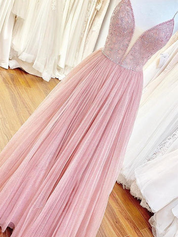 Shiny V Neck Backless Beaded Pink Long Prom Dresses, Backless Pink Formal Graduation Evening Dresses