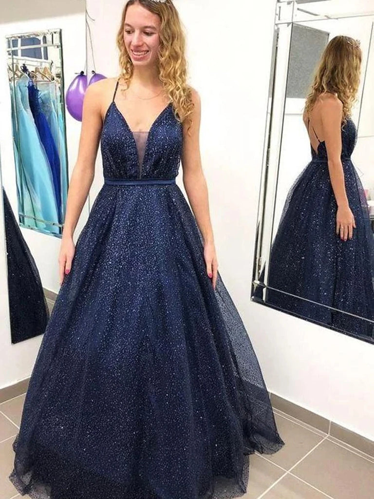 Shiny V Neck Backless Navy Blue Long Prom Dresses, Backless Navy Blue Formal Dresses, Sparkly Navy Blue Evening Dresses