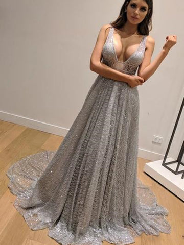Shiny V Neck Backless Silver Grey Long Prom Dresses, Backless Silver Grey Formal Graduation Evening Dresses