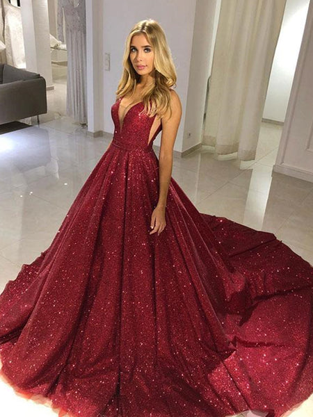 Shiny V Neck Burgundy Sequins Long Prom Dresses, Burgundy Formal Evening Dresses, Sparkly Ball Gown