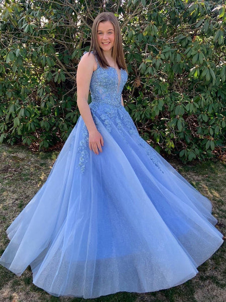 Shiny V Neck Long Blue Lace Prom Dresses, Blue Lace Formal Graduation Evening Dresses