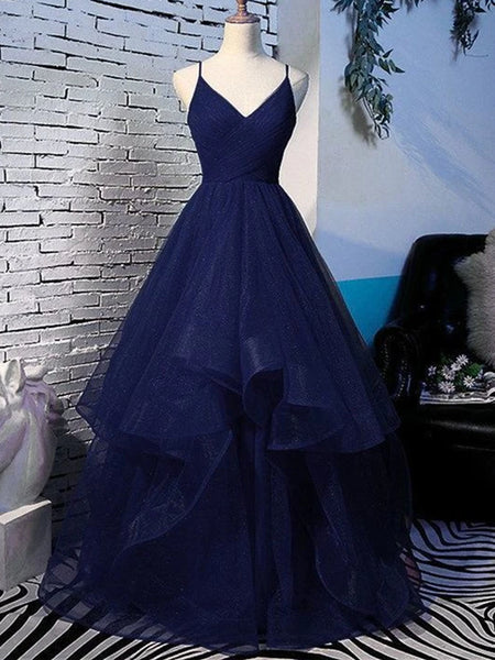 Shiny V Neck Navy Blue Long Prom Dresses, Fluffy Navy Blue Formal Evening Dresses, Sparkly Ball Gown