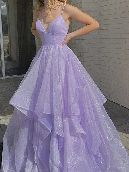 Shiny V Neck Purple Long Prom Dresses, Fluffy Purple Formal Evening Dresses, Sparkly Ball Gown