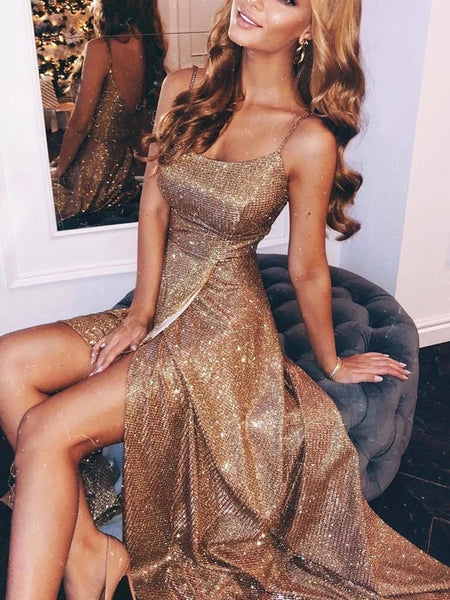 Shiny A Line Floor Length Champagne Long Prom Dresses with Slit, Shiny Champagne Evening Dresses, Shiny Formal Dresses