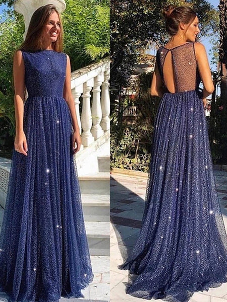Shiny A Line Round Neck Navy Blue Long Prom Dresses, Round Neck Navy Blue Formal Dresses, Navy Blue Evening Dresses