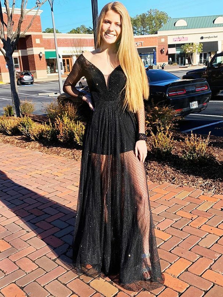 Shiny Long Sleeves V Neck Lace Sequins Black Long Prom Dresses, Long Sleeves Black Formal Dresses, Black Evening Dresses