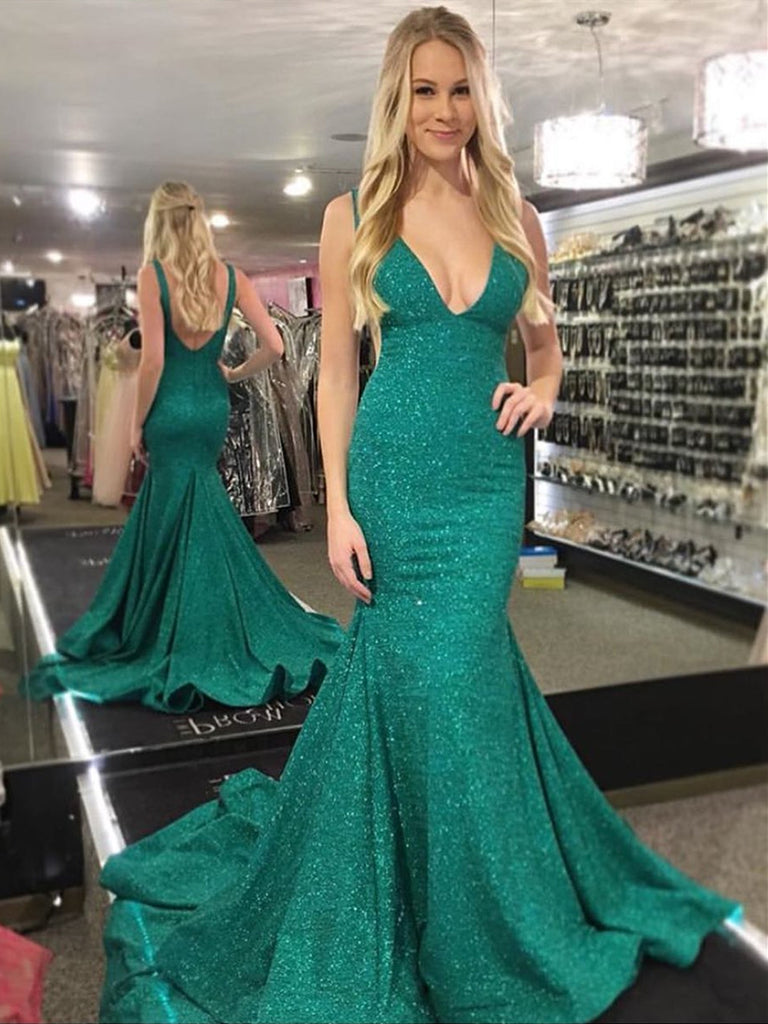 Shiny Mermaid V Neck Backless Green Prom Dresses with Train, Green Mermaid Formal Dresses, Evening Dresses