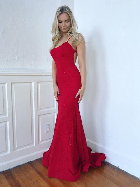 Shiny Red Mermaid Backless Long Prom Dresses, Mermaid Backless Red Formal Graduation Evening Dresses 2019