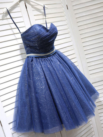 Shiny Strapless Blue Short Prom Dresses Homecoming Dresses, Short Blue Formal Graduation Evening Dresses