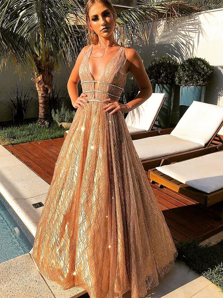 Shiny V Neck Long Champagne Prom Dresses, Sparkly V Neck Champagne Formal Graduation Evening Dresses