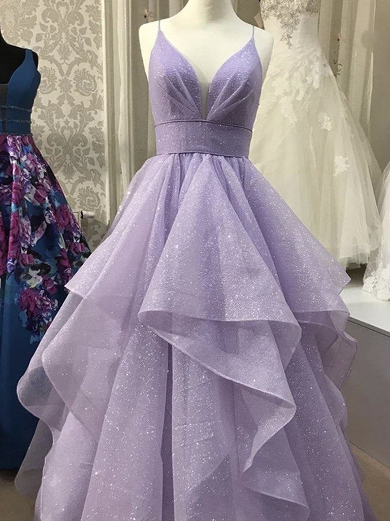 Shiny V Neck Puffy Long Purple Prom Dresses, V Neck Purle Formal Graduation Evening Dresses, Sparkly Purple Ball Gown