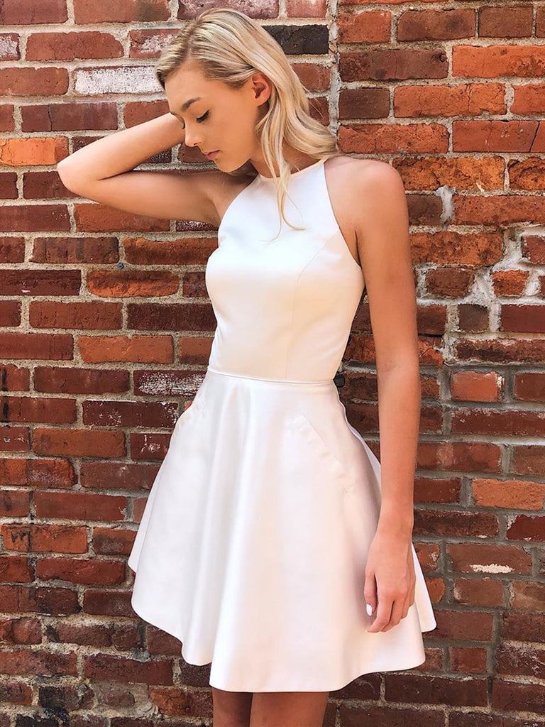 Short Beaded Back White Prom Dresses, Short White Formal Homecoming Dresses