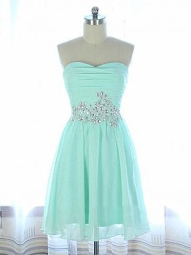 dd68231b64c A Line Sweetheart Neck Short Light Blue Prom Dress