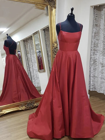 Simple A Line Backless Burgundy Long Prom Dresses, Backless Burgundy Formal Graduation Evening Dresses