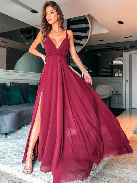 Simple A Line V Neck Burgundy Long Prom Dresses with Split, Burgundy Formal Graduation Evening Dresses