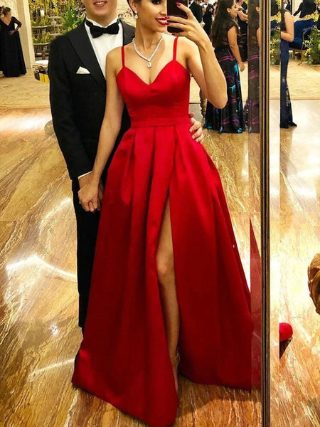 Simple A Line V Neck Red Satin Long Prom Dresses with Slit, Red V Neck Formal Graduation Evening Dresses