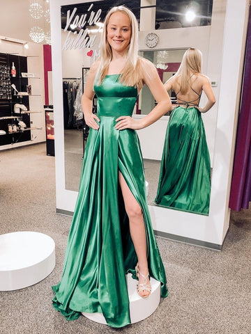 Simple Backless Green Long Prom Dresses with High Slit, Backless Green Formal Dresses, Green Evening Dresses