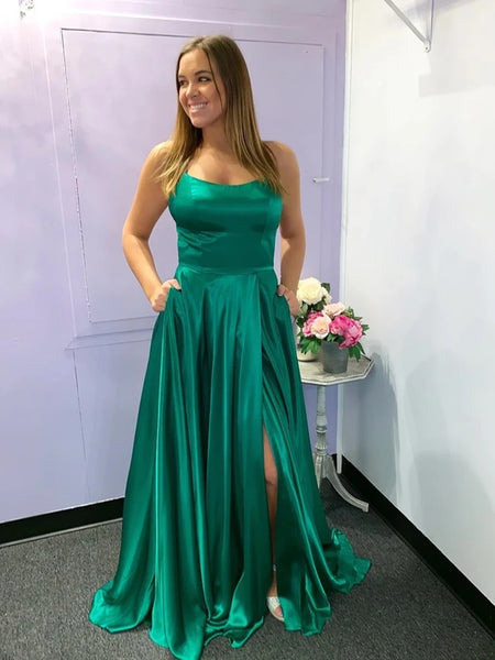 Simple Green Satin Long Prom Dresses with High Slit, Green Formal Graduation Evening Dresses