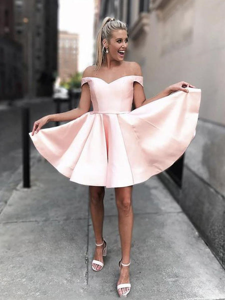Simple Off Shoulder Pink Short Prom Dresses, Off Shoulder Pink Formal Graduation Homecoming Dresses