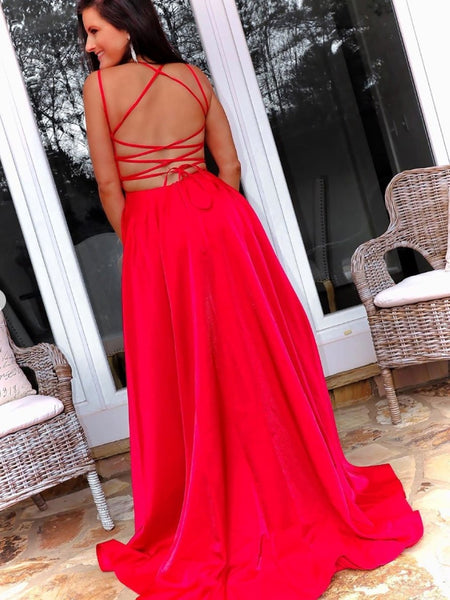 Simple Open Back Red Long Prom Dresses with Cross Back, Red Formal Graduation Evening Dresses with High Slit