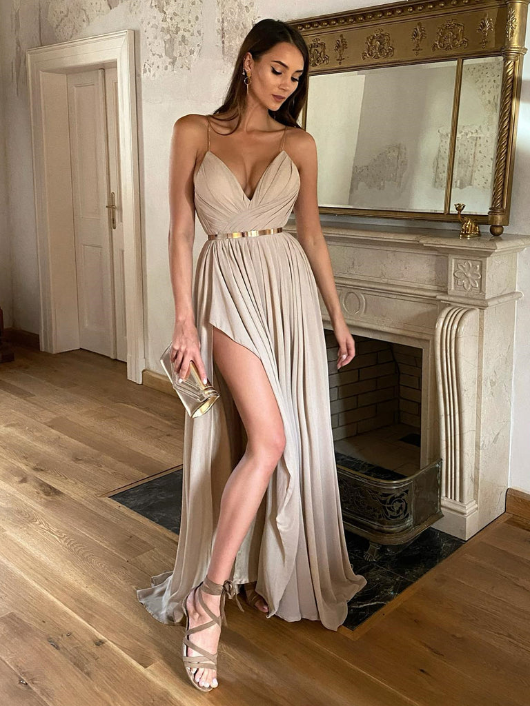 Simple V Neck Champagne Long Prom Dresses with Slit, Long Champagne Formal Graduation Evening Dresses