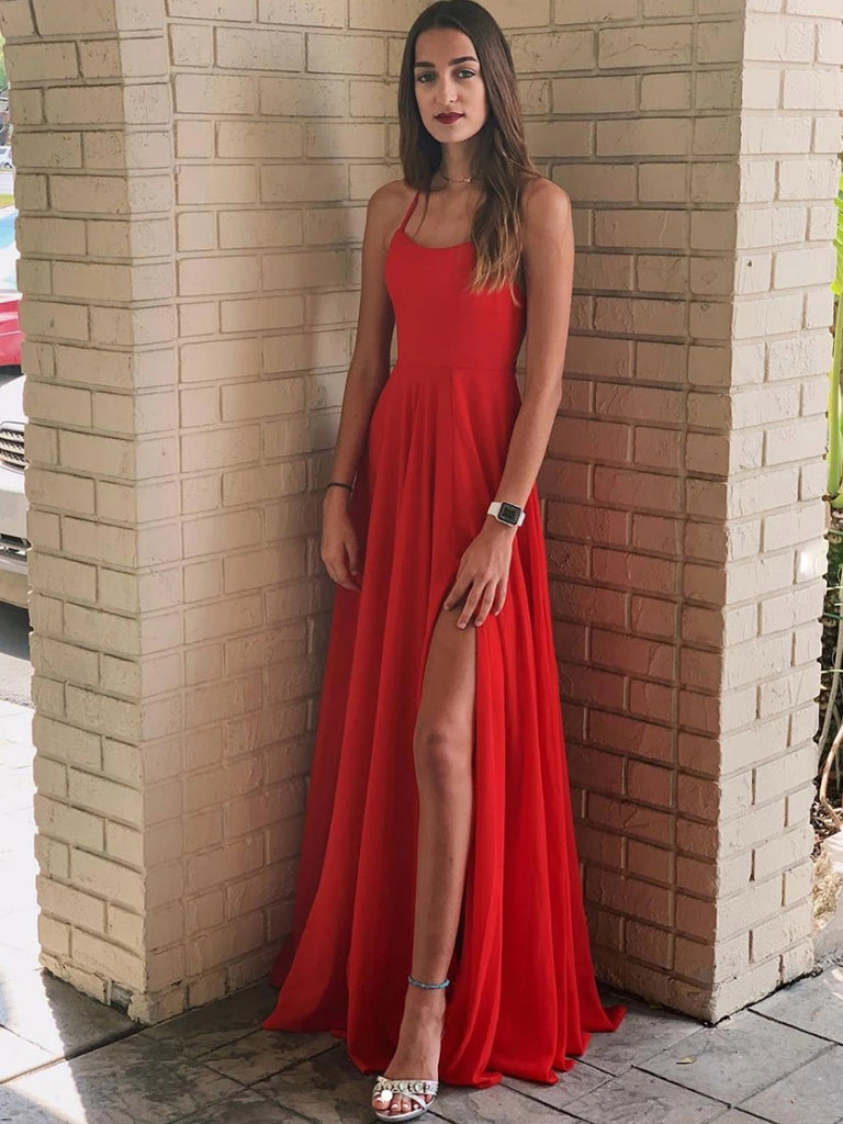 Simple A Line Backless Red Long Prom Dresses with Leg Slit, Sexy Backless Red Formal Graduation Evening Dresses