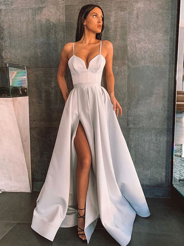 Simple A Line Gray Long Prom Dresses with High Slit, Gray Formal Graduation Evening Dresses with Slit