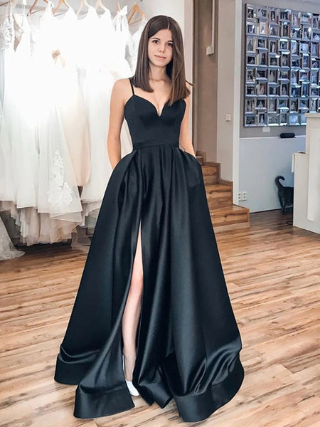 Simple A Line Satin Black Long Prom Dresses with High Slit, Long Black Formal Dresses, Black Evening Dresses