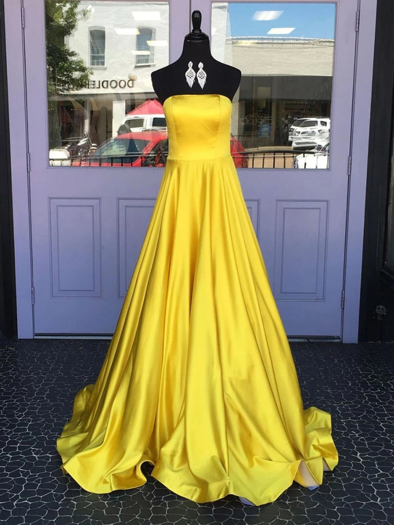 Simple A Line Strapless Yellow Satin Long Prom Dresses, Strapless Yellow Formal Graduation Evening Dresses