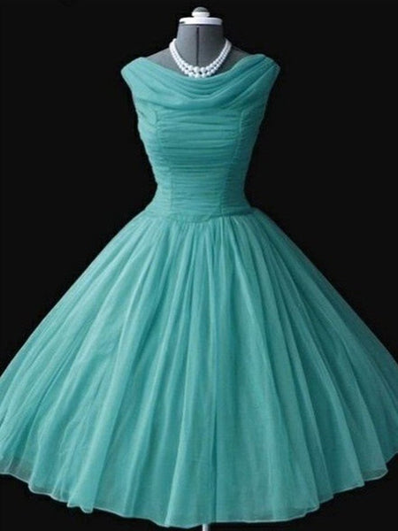 Simple A Line Turquoise/Coral Chiffon Short Prom Dresses, Turquoise/Coral Homecoming Dresses, Short Formal Dresses, Evening Dresses