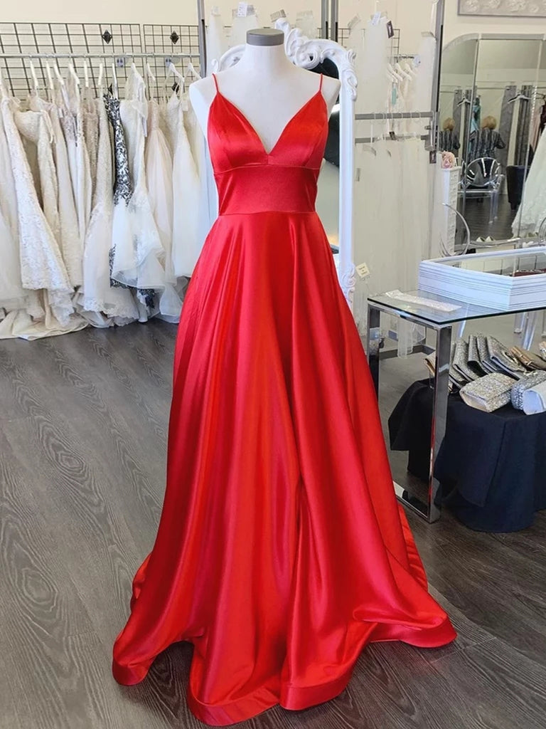 Simple A Line V Neck Backless Red Long Prom Dresses, Backless Red Formal Dresses, V Neck Red Evening Dresses