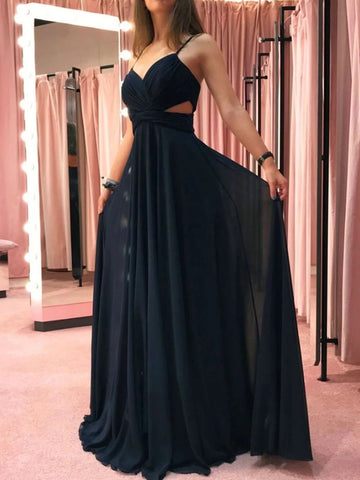 Simple A Line V Neck Black Chiffon Long Prom Dresses, V Neck Black Formal Graduation Evening Dresses