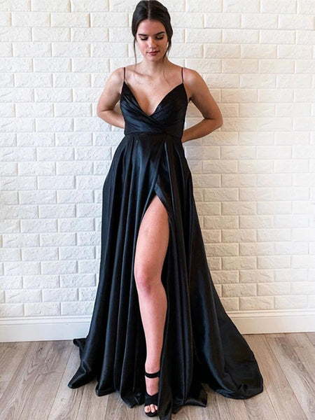 Simple A Line V Neck Black Satin Long Prom Dresses with High Split, Cheap V Neck Black Formal Graduation Evening Dresses