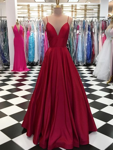Simple A Line V Neck Burgundy Prom Dress, Burgundy Evening Dress, V Neck Formal Dress