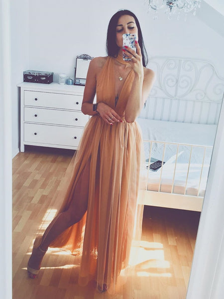 Simple A Line V Neck Champagne Tulle Long Prom Dresses with Split, V Neck Champagne Formal Graduation Evening Dresses, Champagne Bridesmaid Dresses