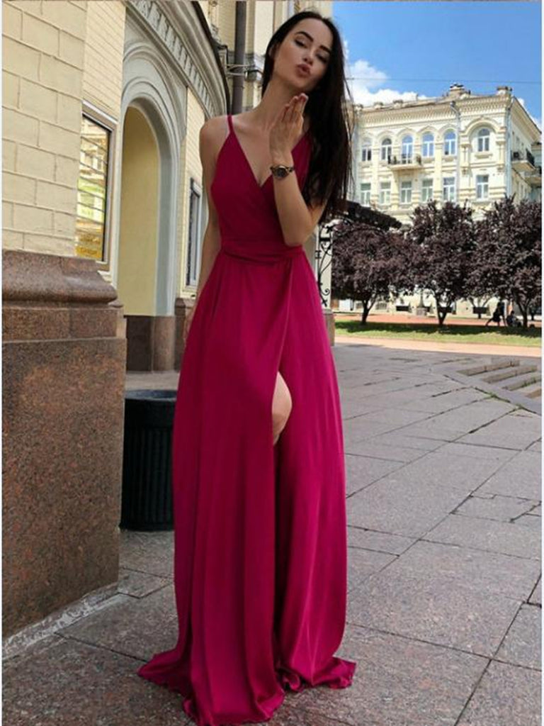 2d0a41b71b3 Simple A Line V Neck Green Burgundy Long Prom Dresses with High Slit ...