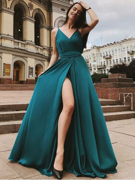 Simple A Line V Neck Green/Burgundy Long Prom Dresses with High Slit, V Neck Green/Burgundy Formal Graduation Evening Dresses