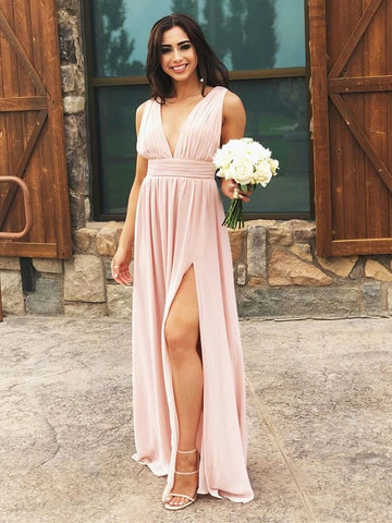 Simple A Line V Neck Pink Chiffon Long Prom Dresses with Split, V Neck Pink Formal Dresses, Pink Bridesmaid Dresses, Cheap Evening Dresses