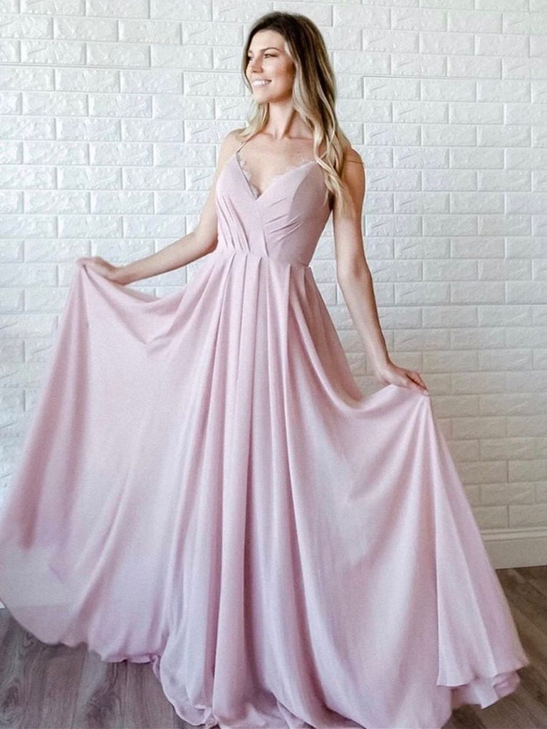 Simple A Line V Neck Pink Long Prom Dresses, V Neck Pink Formal Graduation Evening Dresses, Pink Bridesmaid Dresses