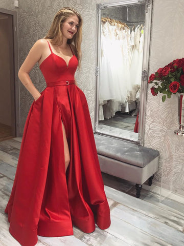 Simple A Line V Neck Red Long Prom Dresses with High Slit, Red Formal Graduation Evening Dresses