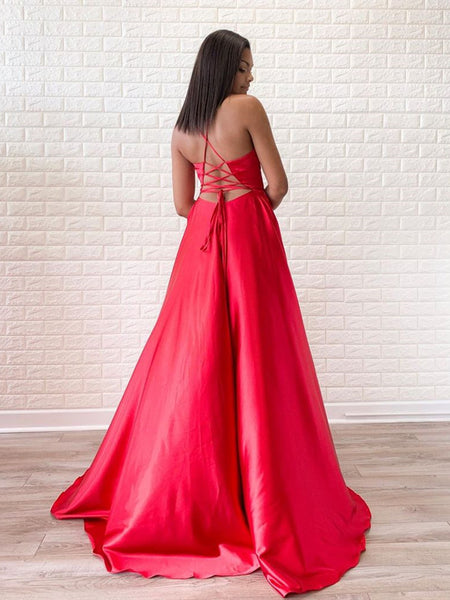 Simple A Line V Neck Red Satin Long Prom Dresses with Slit, V Neck Red Formal Dresses, Red Evening Dresses