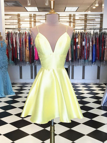 Simple A Line V Neck Yellow Homecoming Dresses Short Prom Dresses, Yellow Graduation Dresses, Formal Dresses, Evening Dresses