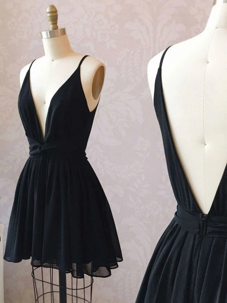 Simple A Line V Neck and V Back Black Short Prom Homecoming Dresses, Cute V Neck Black Formal Graduation Evening Dresses
