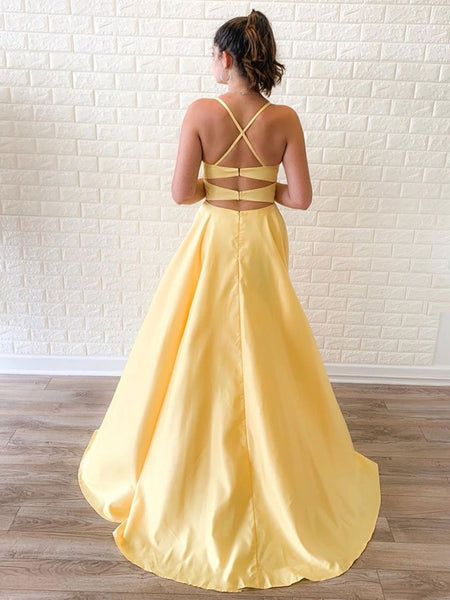Simple A Line Yellow Long Prom Dresses with High Split, Cheap Yellow Formal Graduation Evening Dresses, Yellow Bridesmaid Dresses