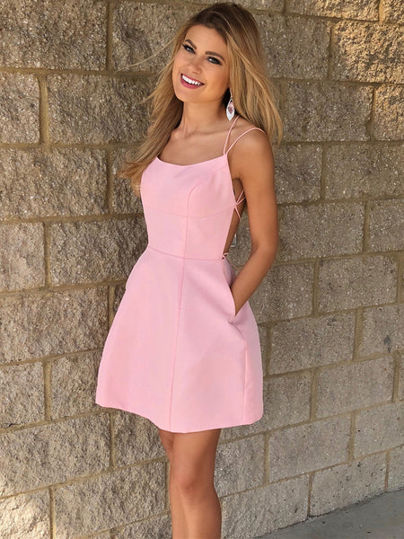 Simple Backless Pink Short Prom Dresses, Backless Pink Homecoming Dresses, Pink Formal Dresses, Evening Dresses