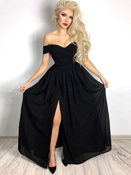 Simple Black Off Shoulder Chiffon Long Prom Dresses with Leg Slit, Off Shoulder Black Formal Dresses Chiffon Slit Evening Dresses