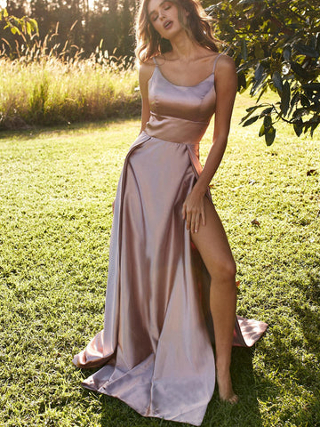 Simple Champagne Satin Long Prom Dresses with Leg Slit, Champagne Formal Dresses, Evening Dresses