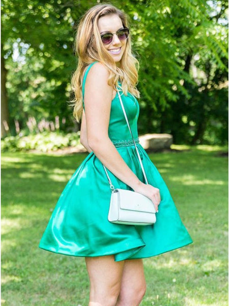 Simple Green Round Neck Satin Short Prom Dresses, Cute Green Homecoming Dresses, Green Formal Dresses, Evening Dresses